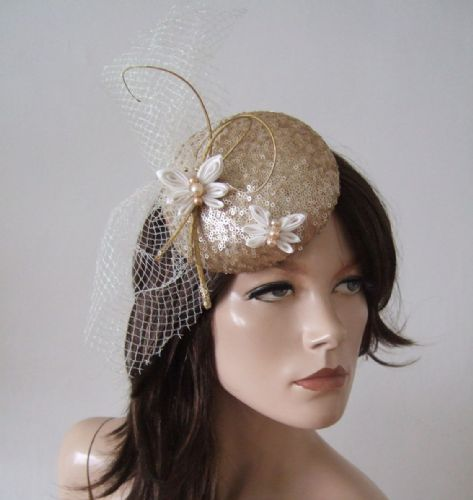 "Gold Ivory Sequin Kanzashi Butterfly, Veil and Quills Button Headpiece Cocktail Hat ""Clara"""
